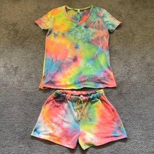 HONEYME Cozy Rainbow Tie Dye Pajama Set